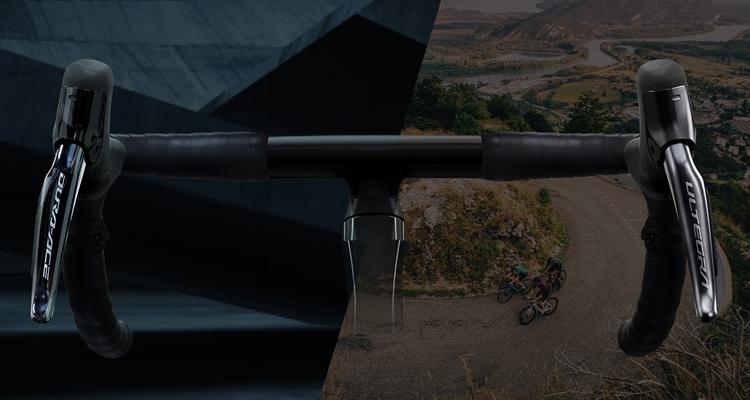 foto con manubrio per introdurre i nuovi prodotti Shimano per bici da corsa.
